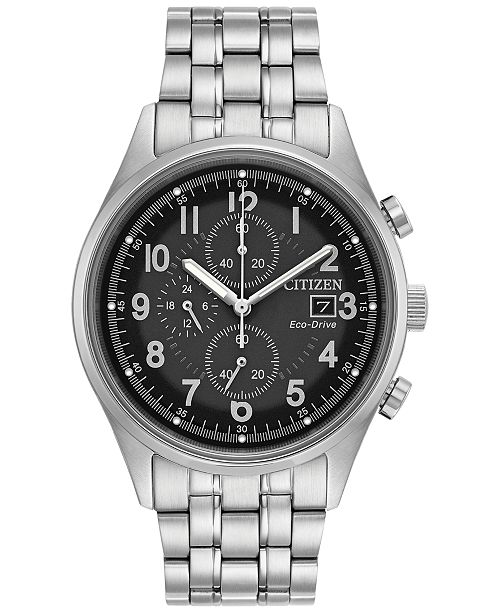 Citizen Men's Eco-Drive Chronograph Stainless Steel Bracelet Watch 42mm CA0620-59H