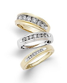 Men's Diamond Bands in 10k Gold and White Gold