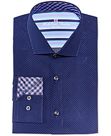 Michelsons of London Men's Slim-Fit Navy Dobby Dress Shirt