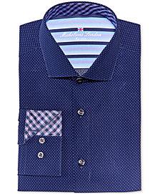 Michelsons of London Men's Slim-Fit Navy Dobby Dress Shirt