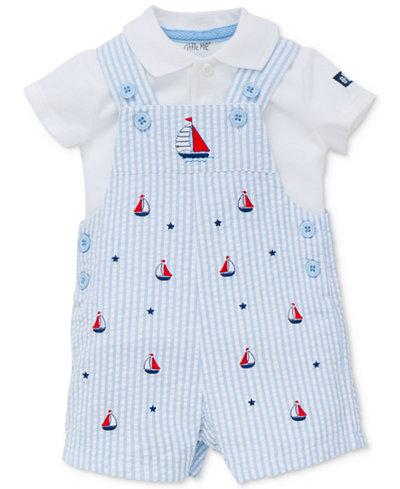 Little Me 2-Pc. Cotton Polo Shirt & Sailboat Shortall Set, Baby Boys (0-24 months)