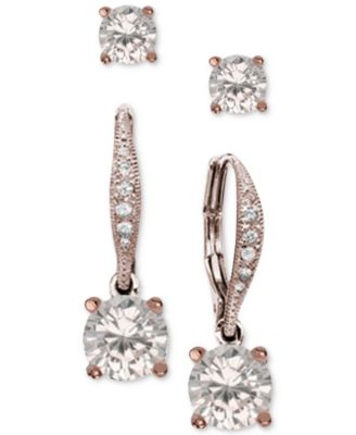 Image of Giani Bernini 2-Pc. Cubic Zirconia Earring Set in 18k Rose Gold-Plated Sterling Silver, Created for