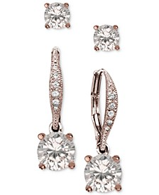 2-Pc. Cubic Zirconia Earring Set in Sterling Silver, 18K Gold-Plated Sterling Silver and 18k Rose Gold-Plated Sterling Silver, Created for Macy's