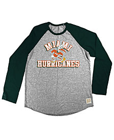 Retro Brand Miami Hurricanes Raglan Long Sleeve T-Shirt, Big Boys (8-20)