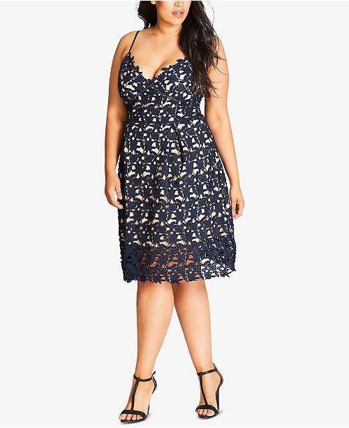 City Chic Plus Size Trendy So Fancy Lace Dress & Reviews ...