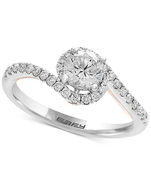 EFFY® Infinite Love Diamond Twist Engagement Ring (1 ct. t.w.) in 18k White and Rose Gold