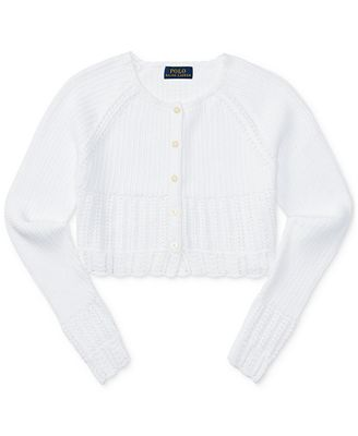 Ralph Lauren Cotton Shrug Sweater, Big Girls (7-16) - Sweaters ...