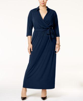 Plus size faux wrap maxi dress