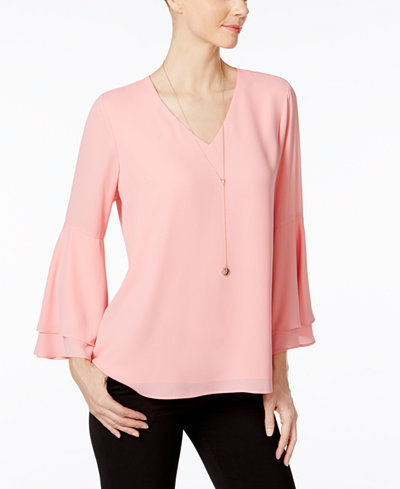 Alfani Petite Bell Sleeve Blouse Only At Macy S Tops
