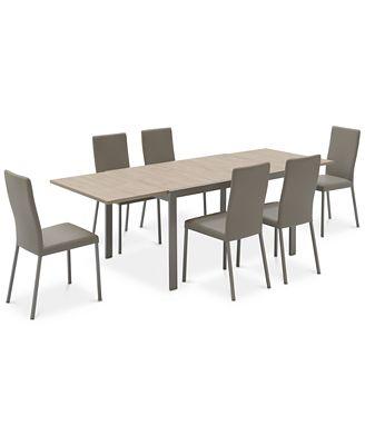 Expandable Furniture macchiato dining furniture, 7-pc. set (expandable dining table