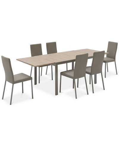 Macchiato Dining Furniture 7 Pc Set Expandable Table With