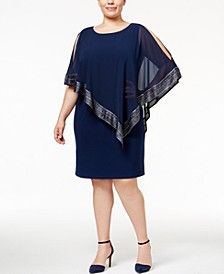 Plus Size Chiffon Overlay Sheath Dress