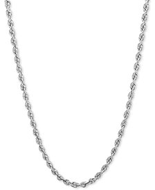 "24"" Rope Chain Necklace (3mm) in 14k White Gold"