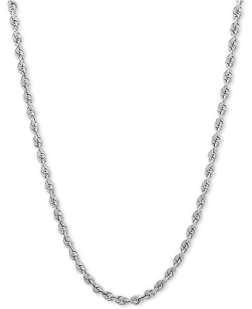 "Macy's 24"" Rope Chain Necklace (3mm) in 14k White Gold"