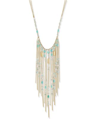 Image of INC International Concepts Gold-Tone Beaded Fringe Statement Necklace, Created for Macy's