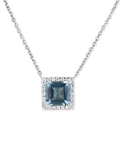 Aquamarine (1-3/4 ct. t.w.) and Diamond (1/6 ct. t.w.) Pendant Necklace in 14k White Gold