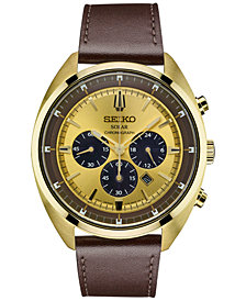 Seiko Men's Chronograph Solar Recraft Series Brown Leather Strap Watch 43mm SSC570