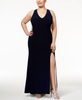 Xscape Plus Size Illusion Beaded-Back Gown