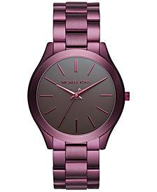 Michael Kors Unisex Slim Runway Plum Stainless Steel Bracelet Watch 42mm MK3551 - Limited Edition