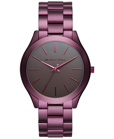 Michael Kors Unisex Slim Runway Plum Stainless Steel Bracelet Watch 42mm MK3551 - Limited Edition