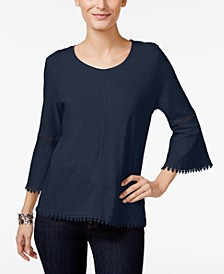 Petite Crochet-Trim Bell-Sleeve Top, Created for Macy's