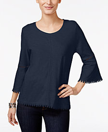 Style & Co Petite Crochet-Trim Lantern-Sleeve Top, Created for Macy's