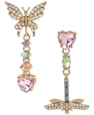 Betsey Johnson Gold-Tone Multi-Stone Butterfly & Dragonfly Mismatch Drop Earrings