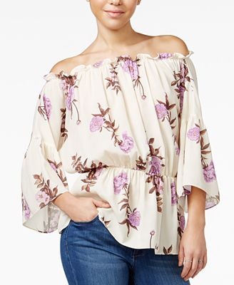 Say What? Juniors' Printed Off-The-Shoulder Peasant Top