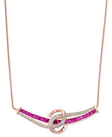 Certified Ruby (1-3/4 ct. t.w.) and Diamond (1/4 ct. t.w.) Collar Necklace in 14k Rose Gold (Also Available in Emerald)