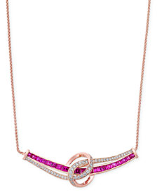 Certified Ruby (1-3/4 ct. t.w.) and Diamond (1/4 ct. t.w.) Necklace in 14k Rose Gold(also Available in Emerald & Sapphire)