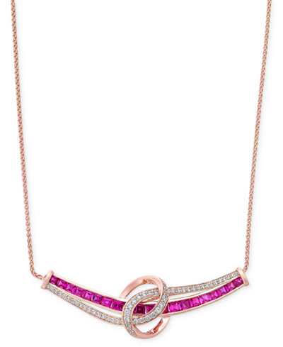 Certified Ruby (1-3/4 ct. t.w.) and Diamond (1/4 ct. t.w.) Necklace in 14k White Gold