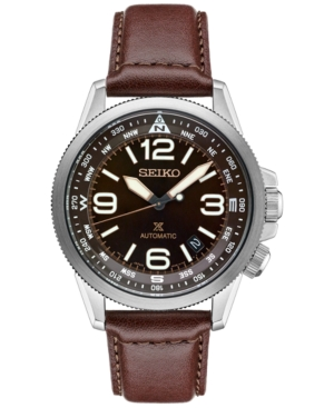 Seiko Men's Prospex Automatic Brown Leather Strap Watch 42mm