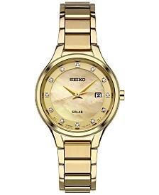 Seiko Women's Dress Solar Diamond-Accent Gold-Tone Stainless Steel Bracelet Watch 29mm SUT320