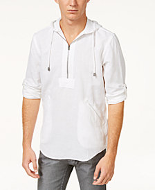I.N.C. Men's Half-Zip Linen-Blend Hoodie, Created for Macy's