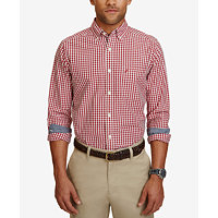Nautica Mens Classic-Fit Gingham Long-Sleeve Shirt
