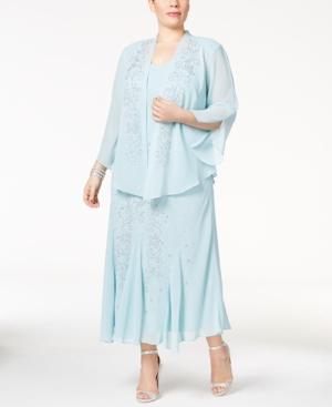 1920s Formal Dresses & Evening Gowns Guide R  M Richards Plus Size Beaded V-Neck Dress and Jacket $110.99 AT vintagedancer.com