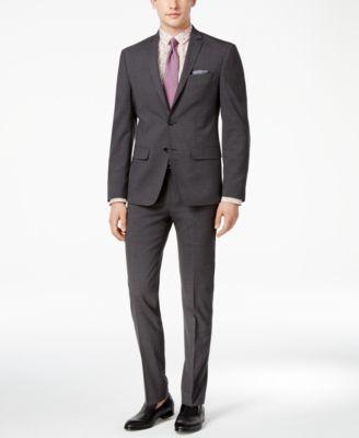 Bar III Men's Extra-Slim Fit Gray/Black Mini-Grid Suit Pants ...