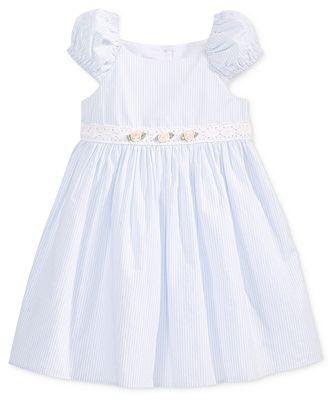 Laura Ashley Seersucker Striped Cotton Dress Toddler