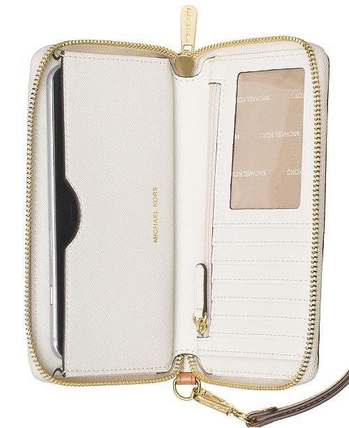 236828a0695f Michael Kors Signature Jet Set Item Large Flat Multi Function Phone Case ...