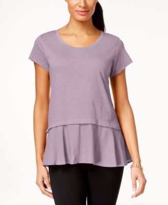 Image of Style & Co Layered-Look Peplum T-Shirt, Only at Macy's
