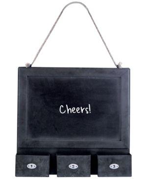 Metal-Framed Hanging Blackboard with 3 Bins 4502399