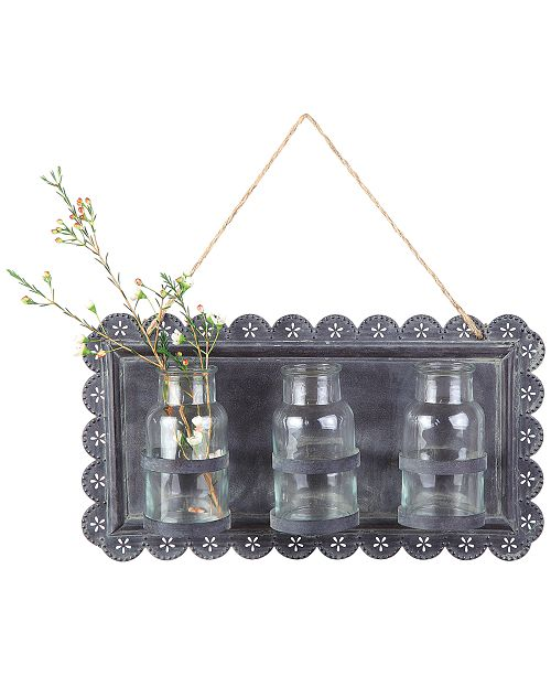 3R Studio Tin Wall Decor with 3 Glass Vases