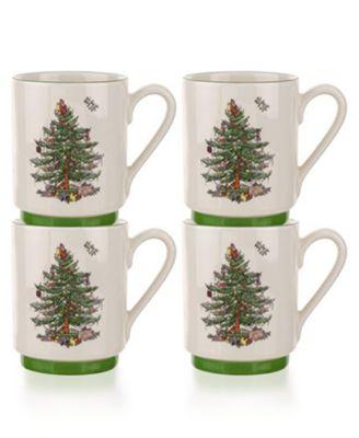 Christmas Tree Stacking Mugs, Set of 4
