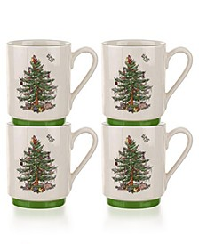 Christmas Tree Stacking Mugs, Set of 4