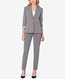 Peak-Collar Blazer & Skinny-Leg Trousers