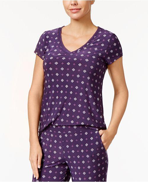 Alfani for Plumeria Trim Printed Purple Chiffon Macy's Top Created Pajama wxqPgxaCS