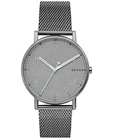 Skagen Men's Signature Gray-Tone Stainless Steel Mesh Bracelet Watch 40mm SKW6354