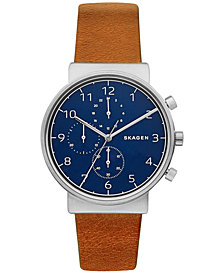 Skagen Men's Chronograph Ancher Brown Leather Strap Watch 40mm SKW6358