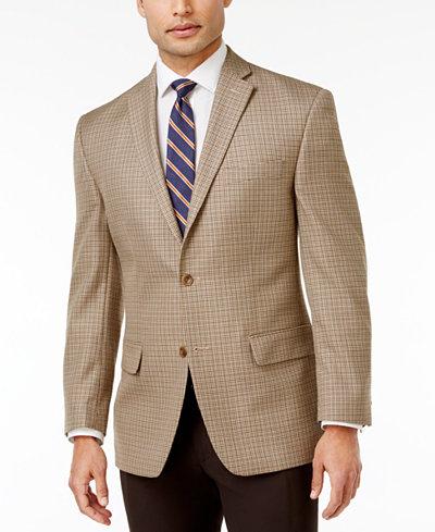 MICHAEL Michael Kors Men's Classic-Fit Tan Houndstooth Sport Coat ...