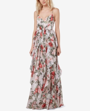 Vintage Evening Dresses and Formal Evening Gowns Fame and Partners Printed Ruffle Maxi Gown $299.00 AT vintagedancer.com